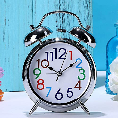 Despertador Analogico Retro, Silencio Silencioso Campana Gemela Moda Sencilla Mesita Noche Metal Creativo Cuarzo BateríA Reloj Escritorio para Sala Estudio Dormitorio Sala Estar, Silver