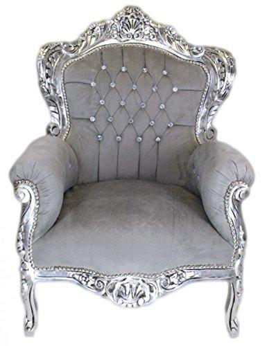Barock Sessel Grau Silber Bling Glitzersteinen