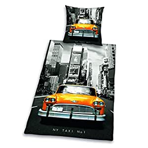herding 445960050412 bettw sche new york taxi kopfkissenbezug 80 x 80 cm bettbezug 135 x. Black Bedroom Furniture Sets. Home Design Ideas