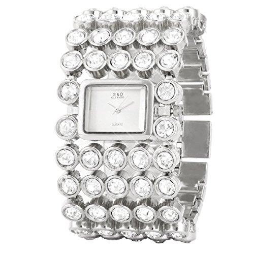 UNIQUEBELLA Elegant Armbanduhr Strass Damenuhr Quarzuhr Edelstahl Armreifen Armkette Vogue Analog Qaurzuhr watch Gift Silber