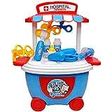 Toyshine Bucket Cum Trolley Doctor Set Play Cart Pretend Play Set Toy, Blue