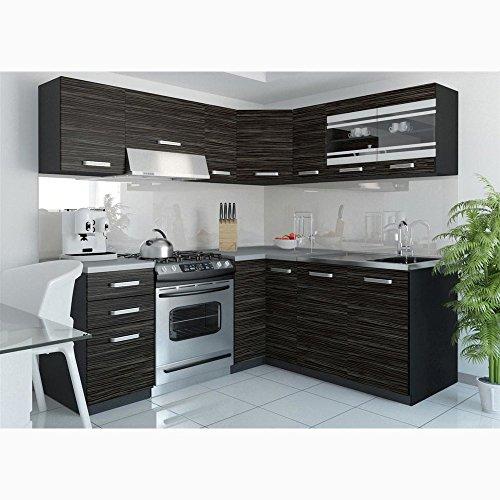 JUSThome Torino IV L-Küche Küchenzeile Küchenblock 190×170 cm Länge in zwei Griffvarianten auswählbar