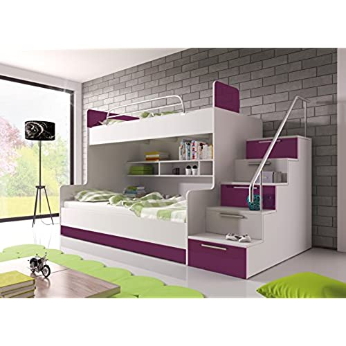 BUNK BED TALA For 2 Children FUNCTIONAL DESIGN HIGH GLOSS INSERTS White With Dark Purple Details