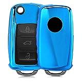 kwmobile Autoschlüssel Hülle für VW Skoda Seat - TPU Schutzhülle Schlüsselhülle Cover für VW Skoda Seat 2-3-Tasten Autoschlüssel Hochglanz Blau