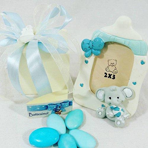 Sindy bomboniere bomboniera originale per nascita bambino battesimo portafoto biberon elefantino (confezionata da noi)