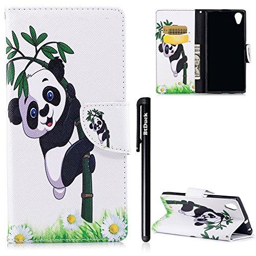 BtDuck Compatible with Schutzhülle Sony Xperia XA1 Plus Holster Handyhülle PU Leder Tasche Flip Magnet Case Tier Blume Schmetterling Bunt Brieftasche Etui Handy Hülle Panda