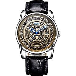 Angela Bos Men's Bronze Citizen Mechanical Movement Vintage Wrist Watch Calfskin Band Gold 9018