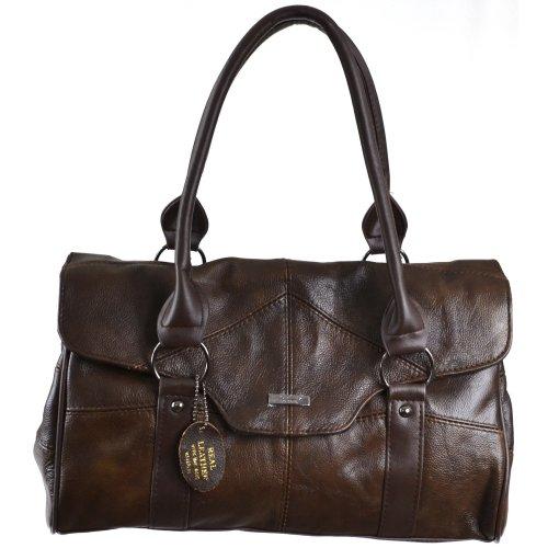 Damenschultertasche, -handtasche Leder mit Taschenklappe und Magnetverschluß (Schwarz / Dunkelbraun / Dunkelbeige / Hellbraun) Dunkelbraun