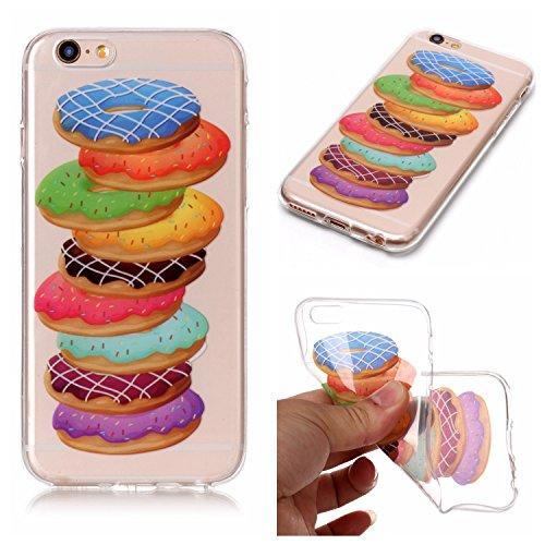 Cover iPhone 6 Plus Spiritsun Case iPhone 6S Plus Custodia Moda Ultraslim Trasparente Soft TPU Case Handy Cover High Quality Case Elegante Souple Flessibile Liscio Copertura Perfetta Protezione Shell  Donuts
