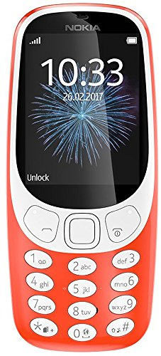 Nokia 3310 2G Mobiltelefon (2,4 Zoll Farbdisplay, 2MP Kamera, Bluetooth, Radio, MP3 Player, Single Sim) warm red (Nokia 3310)
