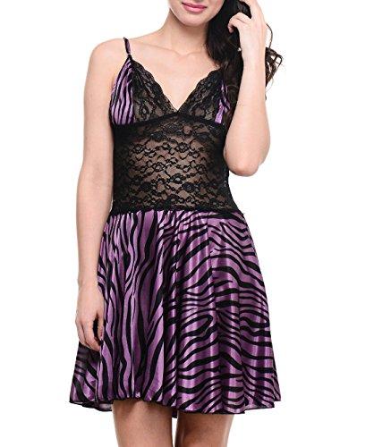 Klamotten Purple Tiger Print Babydoll Nightwear