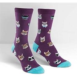 Sock It To Me Calcetines de tripulación de Gato Smarty, Calcetines de Gato Nerd para Mujeres OSFM