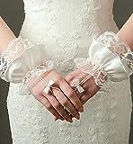 Gants de mariée doigt nu / longueur de poignet / chaîne de perles / accessoires de robe de mariée / fête et nuit / dentelle, beige