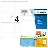 Herma 4475 Universal Etiketten (105 x 41 mm) weiß, 1.400 Aufkleber, 100 Blatt DIN A4 Premium Papier matt, bedruckbar, selbstklebend