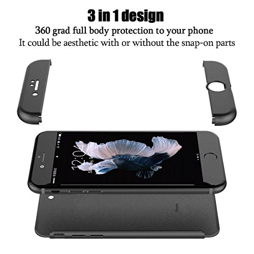 iPhone 6S 6 Hülle , JEPER 3 in 1 Ultra Dünner PC Harte Schutzhülle Case 360 Grad Schützend Handyhülle Anti-Kratzer Bumper Cover Vollschutz Schale für Apple IPhone 6/6s Black