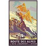Affiche ancienne de Julien LACAZE Route des Alpes (50x70cm)...