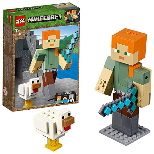 LEGO 21149 Minecraft Alex BigFig with Chicken Building Kit, Colourful Best Price and Cheapest