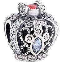 LSDesigns - Charm a forma di corona da principessa reale, in argento Sterling 925, compatibile con bracciali Pandora, Biagi, Chamilia e Trollbeads