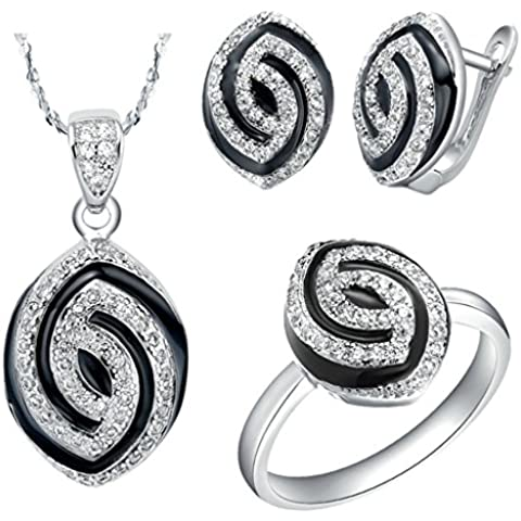 AieniD Conjunto de Collar Anillos y Aretes Chapado en Plata Joyas de Moda Con Circonita
