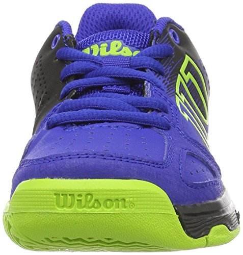 Wilson Wrs321830e, Chaussures de Tennis Mixte Enfant Bleu (Blue Iris Wil / Black / Granny Green)