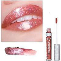 lápiz labial mate permanente Sannysis lápiz labial líquido brillo Maquillaje a prueba de agua brillo de labios larga duracion cosméticos labial impermeable y Delineador de labios (Glitter F)