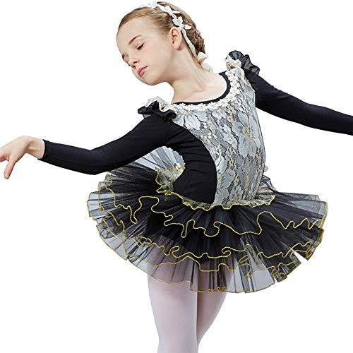 Schwarze Rosa Und Tanzkostüm - HUO FEI NIAO Kinder Tanzkostüm Ballettrock Rosa und Schwarz, Höhenbereich: 110-150CM (Farbe : Schwarz, größe : 130cm)