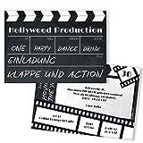 Einladungskarten Geburtstag als Filmklappe | 10 Stück | Inkl. Druck Ihrer Texte | Individuelle Einladungen |Kindergeburtstag | Einladungskarte Junge Mädchen | Karte Einladung