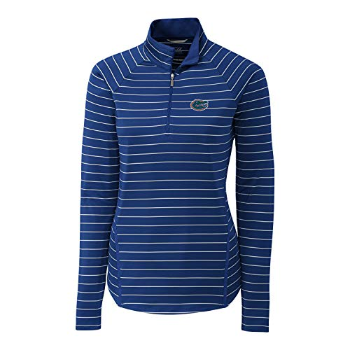 Cutter & Buck NCAA Damen Lange Ärmel Bleistift Streifen Evie Half Zip, Damen, Long Sleeve Pencil Stripe Evie Half Zip, Tour Blue, Small -