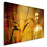 Feeby, Wandbild - 1 Teilig - 80x120 cm, Leinwand Bild Leinwandbilder Bilder Wandbilder Kunstdruck, BUDDHA, KULTUR, RELIGION, BRAUN