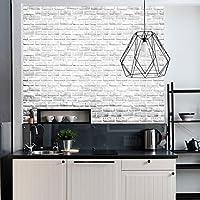 Vintage y Color blanco ladrillo patrón Contacto Papel Vinilo autoadhesivo papel pintado para sala de estar dormitorio cocina cuarto de baño decoración de la pared 45 x 500 cm