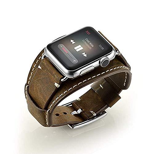 Vicara Compatibile Cinturino per Apple Watch, Bracciale Cinturino in Vera Pelle con Adattatore per Apple iWatch