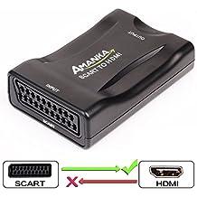 AMANKA Scart a HDMI Convertidor Conversor de Euroconector a HDMI Adaptador De Vídeo Escalador para HD TV DVD Xbox PS3 Blu-Ray