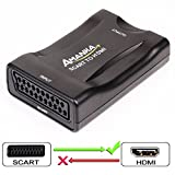 Scart to HDMI Converter, AMANKA Scart Adapter Support HDMI 720/1080P for Smartphone to HDTV STB PS3 Sky DVD Blu-ray,Black