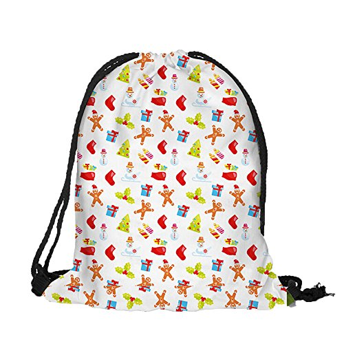 nt Rucksackhandtaschen Mode Mädchen Schule Student Schultasche Im Freien Reise Backpack Anti Diebstahl Taschen Qmber 3D-Digitaldruck Strauß Tasche Weihnachten Kordelzug/A ()