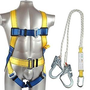 RUNMIND – Arnés de Seguridad para Todo el Cuerpo con Anillas en D y cinturón para la Cintura, con Amortiguador de Golpes y cordón elástico