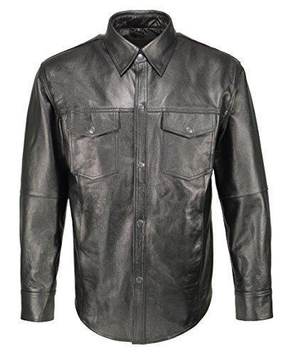 Preisvergleich Produktbild M-Boss Apparel BOS11600 Herren Hemd aus Leder,  mit Schnappverschluss,  Größe XXL,  Schwarz