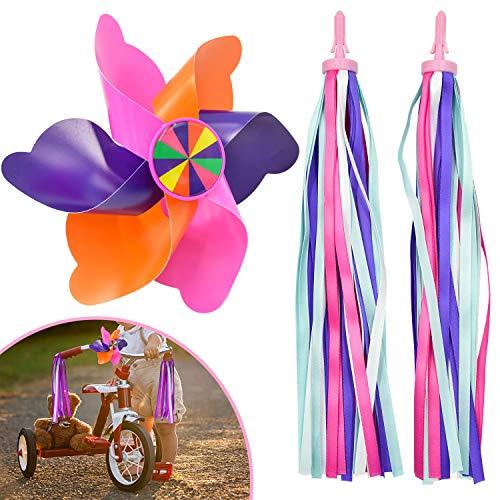 SANTOO Kinder Fahrrad Quaste und Windrad Windmühle,Fahrradlenker Streamer Bunte Windräder Dekoration für Kinder Fahrrad Lenker Roller Kinderwagen und Dreiräder
