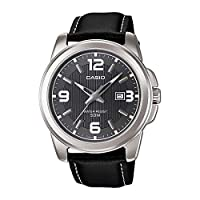 Casio Men's Black Dial Leather Band Watch - MTP-1314L-8AV