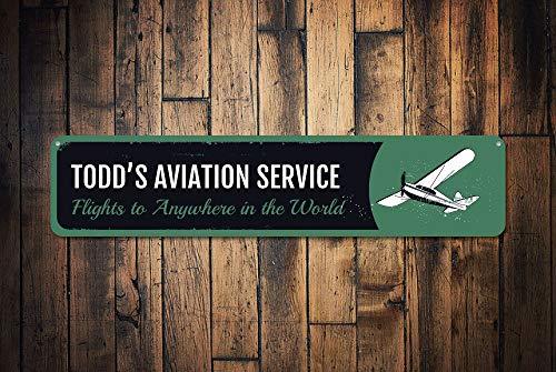 Luftfahrt-Service-Schild, Personalisiertes Pilot-Namensschild, Metallschild, Flugzeug-Dekoration, Flugzeug-Schild, Metallschild, 10,2 x 45,7 cm -