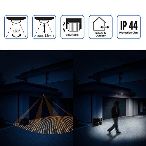 deleyCON PREMIUM Infrarot Bewegungsmelder – für Innen- und Außenbereich – 180° Arbeitsfeld – Reichweite bis 12m – einstellbarer Erfassungsbereich – IP44 Schutzklasse – Spritzwasser geschützt – Weiß - 5