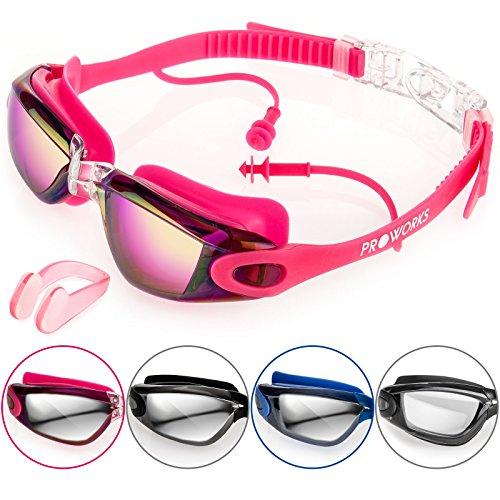 Proworks Schwimmbrille mit verspiegelten Gläsern, UV Schutz und Anti-Beschlag-Schutz - für Erwachsene, Kinder Männer und Frauen | Voll Verstellbar - Rosa