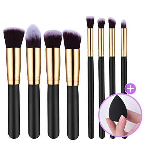 LiSmile 【Great Gift for Valentine】 Kabuki Makeup Brushes, Professional 8+1 Pieces Kabuki Foundation Brushes Makeup Brushes Set with Sponge Egg and Travel Pouch, Golden