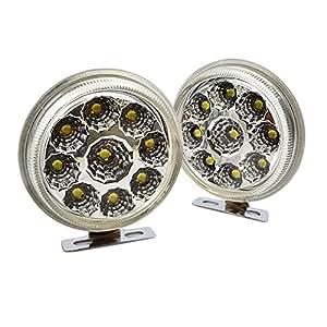 Goliton® 1 Paire 9LED rond lumière de jour,lumière diurne et GM LED feu antibrouillard étanche -Blanc