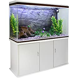MonsterShop - Acuario 300 Litros con Mueble Blanco y Kit con Plantas y Grava Natural 143cm x 120cm x 39cm