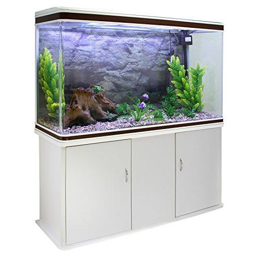 MonsterShop Aquarium Starter Komplettset Aquarium mit passendem Unterschrank inklusive Aquarienpflanzen Kies Neutral Aquarium Hintergrund 143.5cm H x 120.5cm B x 39cm T
