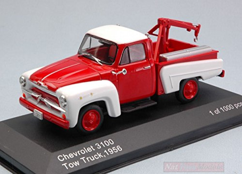 WHITEBOX WB233 CHEVROLET 3100 TOW TRUCK 1956 RED/WHITE 1:43 MODELLINO DIE CAST - Diecast Truck Tow