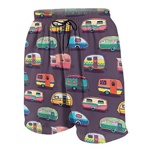 Pillow Socks Happy Camper Boys Beach Shorts Quick Dry Beach Swim Trunks Kids Swimsuit Beach Shorts,Boys' Classic Cargo Short S