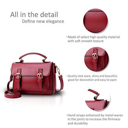 NICOLE&DORIS Damen Handtaschen Umhängetasche Damenhandtaschen Henkeltaschen Schultertaschen Klein Crossbody PU Schwarz Rot
