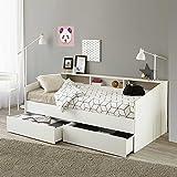Pharao24 Bett in Weiß mit Regalfächern Bettkasten Ja