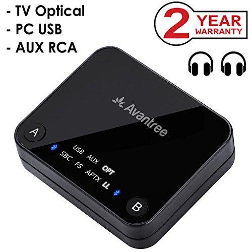 Avantree Transmisor Bluetooth 4.2 para TV, TOSLINK Óptico Digital, baja latencia aptX para 2 auriculares, RCA, adaptador de audio emisor inalámbrico de 3,5 mm, indicadores LED - Audikast [2 Años de Garantía]